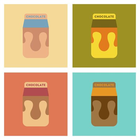 Assembly flat icons coffee chocolate package.