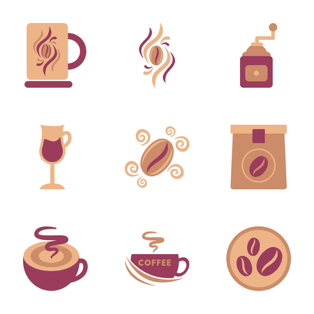 Assembly flat icons coffee