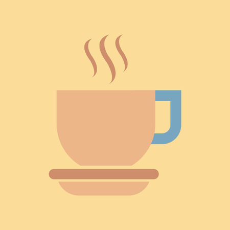 Flat icon on stylish background coffee cup flavor Illustration