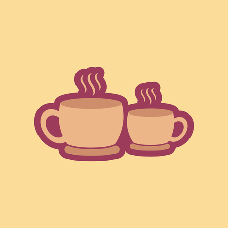 Flat icon on stylish background cups hot coffee