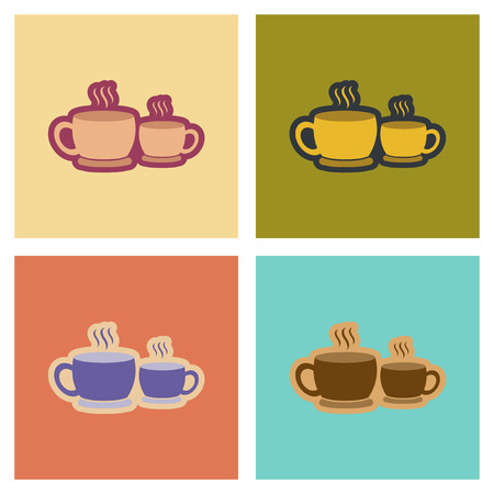assembly flat icons cups hot coffee Иллюстрация