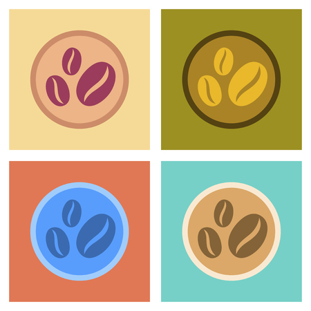 Assembly flat icons beans coffee logo
