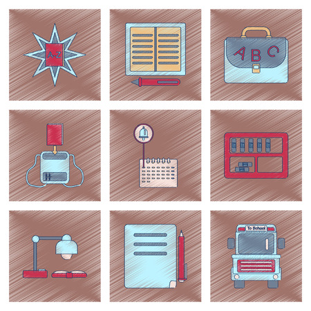 Assembly flat shading style icon education school supplies 矢量图像