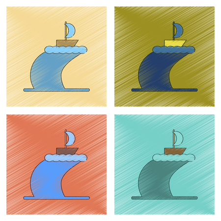 Assembly flat shading style icon ship storm Illustration