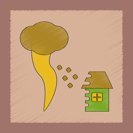 flat shading style icon tornado destruction house
