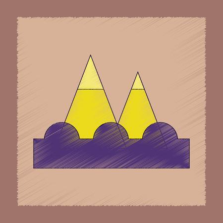 flat shading style icon tsunami mountains Illustration
