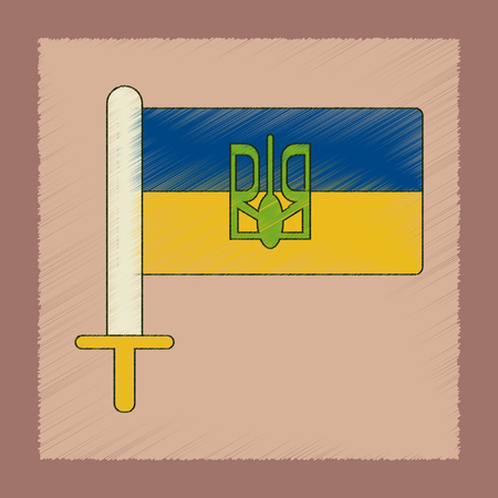 우크라이나 국기의 플랫 음영 스타일 아이콘입니다. 스톡 콘텐츠 - 96080145