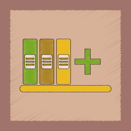 Flat shading style icon of shelf folder Illustration