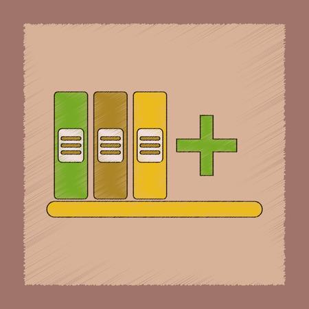 Flat shading style icon of shelf folder Ilustração