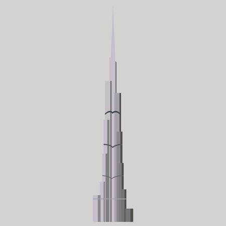 Burj Khalifa tower icon. UAE Dubai symbol. Gray United Arab Emirates building. Logo illustration.
