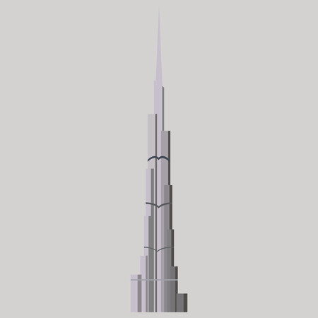 Burj Khalifa tower icon. UAE Dubai symbol. Gray United Arab Emirates building. Logo illustration.