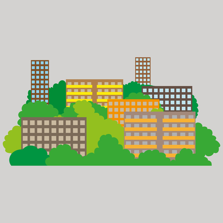 Smart city with contemporary buildings networks, connection and internet of things icons on top. Illustration