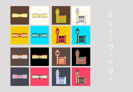 Isolated city buildings icon set different heights residential and public buildings business centers vector illustration.