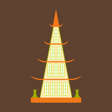 Chinese restaurant building flat icon vector.