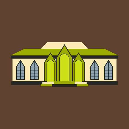 Flat design of retro city house. Old building. colorful cottage building, cafe house.