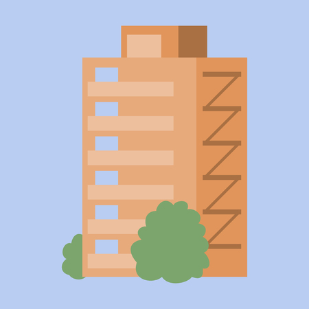 A modern multi-storey building with a complex design.   Vector illustration. Illustration