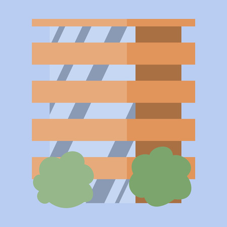 A modern multi-storey building with a complex design. The concept of construction. Vector illustration. Illustration