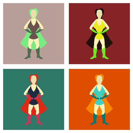 Set of Super heroines vector illustration