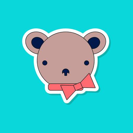 Paper sticker on stylish background, kids toy bear.