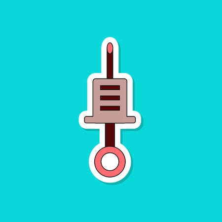 Paper sticker on stylish background Kids toy syringe. Illustration