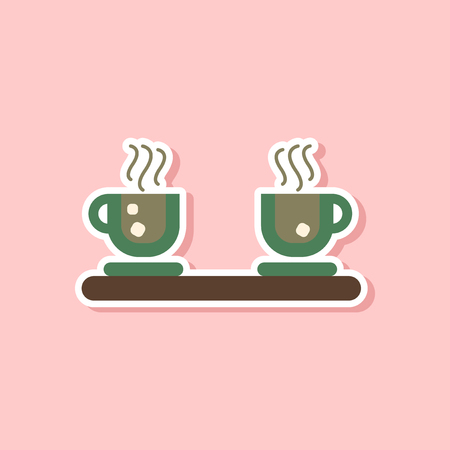 Paper sticker on stylish background coffee cups flavor. Illustration