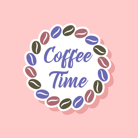 Paper sticker on stylish background bean coffee time icon. Illustration
