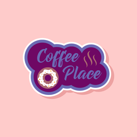 Paper sticker on stylish background coffee drink place logo. Illustration