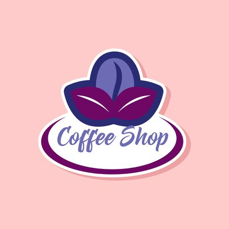 Paper sticker on stylish background Coffee shop logo.