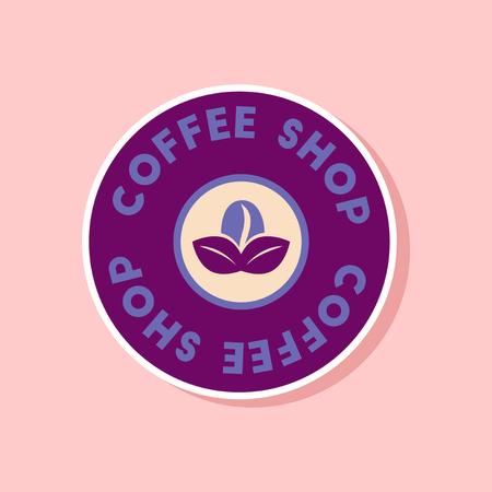 Paper sticker on stylish background coffee shop icon.