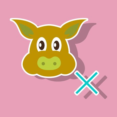 Sticker illustration of pig in graphic style, hand drawing illustration.
