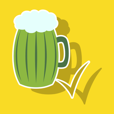Beer in glass cup, refreshing drink with white foam in sticker illustration, splashing beer. Vektoros illusztráció