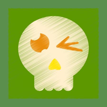 flat shading style icon halloween emotion skull Illustration