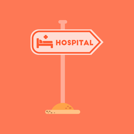flat icon on background hospital sign Vector illustration.