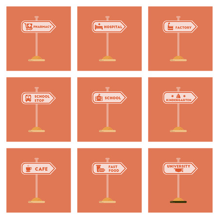 assembly flat icons University kindergarten school fast food stop pharmacy cafe hospital sign Vectores