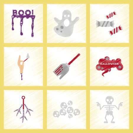 Assembly flat shading style icons halloween boo ghost candies Witch broom skeleton sign chicken feet skulls Vectores