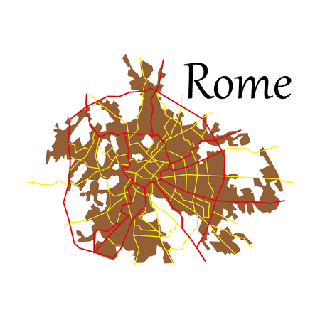 Flat city map of Rome with well organized separated layers.