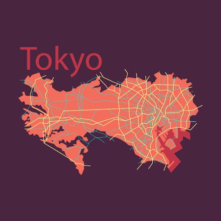 Flat Japan Tokyo  Top view map illustration