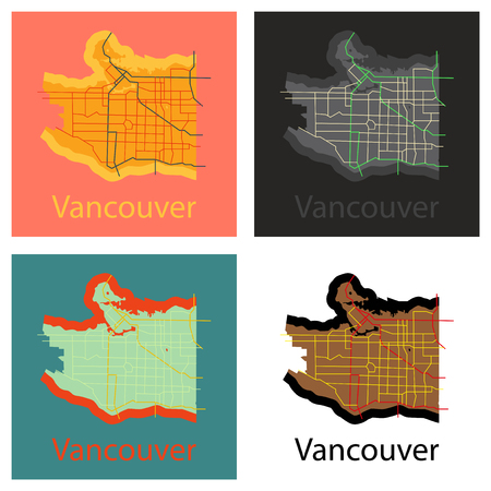 Set of Vancouver city plan, detailed flat map