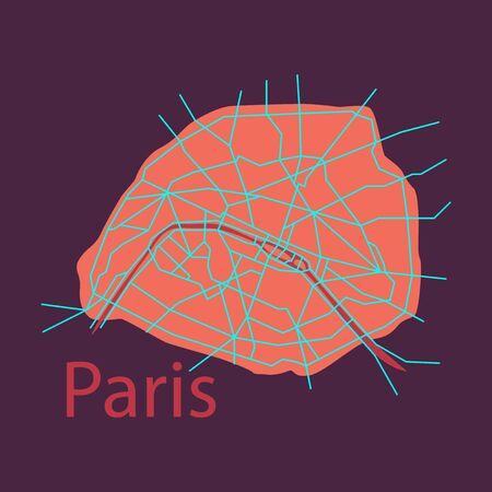 Flat Urban city map of Paris, France