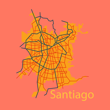 Flat Road and administrative map of agglomeration Santiago, Chile