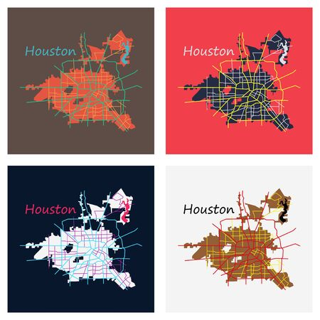Set of Flat Map Houston city. Texas Roads Stock Illustratie