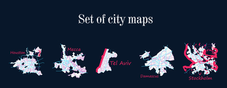 Set of country map illustration 일러스트