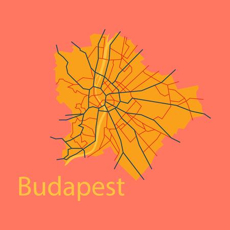 Flat scheme of the Budapest, Hungary. City Plan of Budapest. Vector illustration Illustration