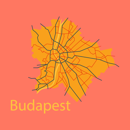 Flat scheme of the Budapest, Hungary. City Plan of Budapest. Vector illustration Stock Illustratie