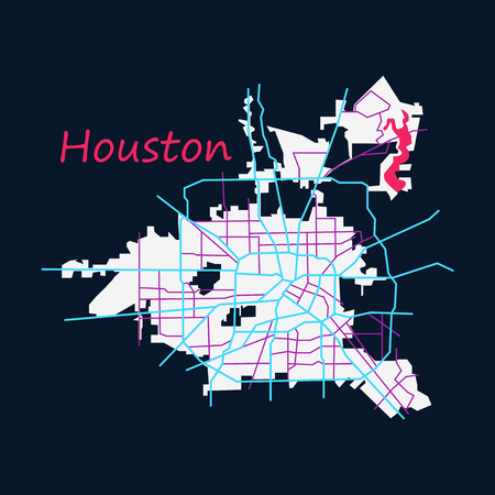Flat Map Houston city. Texas Roads
