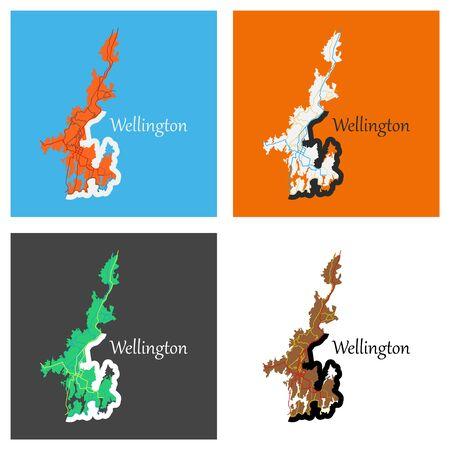 Set of Detailed flat map of Wellington, New Zealand Illustration