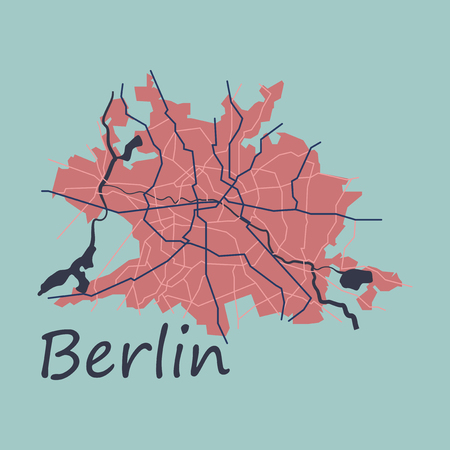 Flat Berlin city map with boroughs illustration silhouette shape