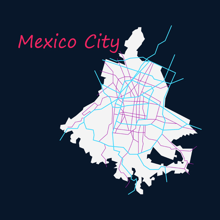 Flat color map of Mexico City, Mexico. City Plan of Mexico City. Vector illustration