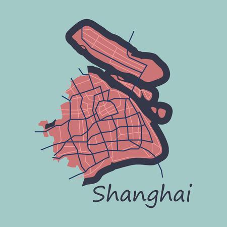 Flat Detailed Shanghai City Road Network Map Ilustrace