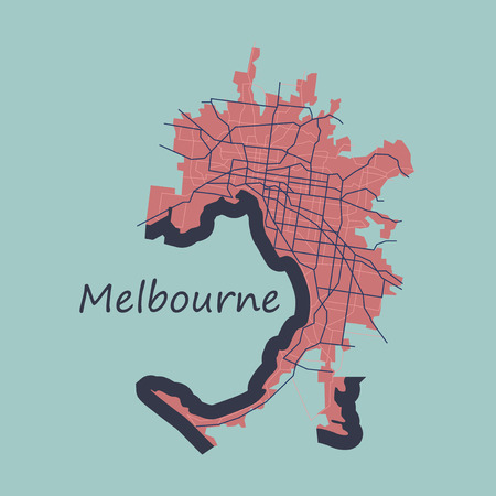 Melbourne Australia Map in Retro Style. Flat Illustration.